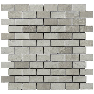 Mini Brick 1 x 2 Limestone Natural Stone Blend Mosaic Tile in Gray