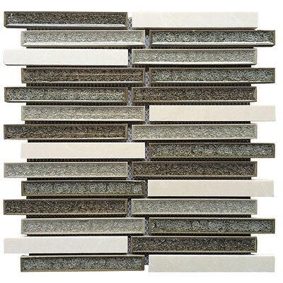 0.75 x 6 Ceramic and Stone Linear Blend Mosaic Tile in Gray and Tan