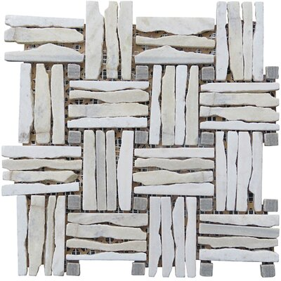 Landscape Wonder 12.5 x 12.5 Quartzite Basketweave Natural Stone Blend Mosaic Tile in Gray and White