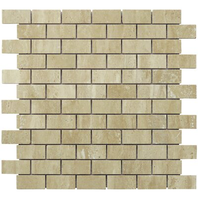 Mini Brick Pattern 1 x 2 Travertine Natural Stone Mosaic Tile in Tan