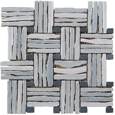 Landscape Wonder 12.5 x 12.5 Quartzite Basketweave Natural Stone Blend Mosaic Tile in Unpolished Two-tone Gray