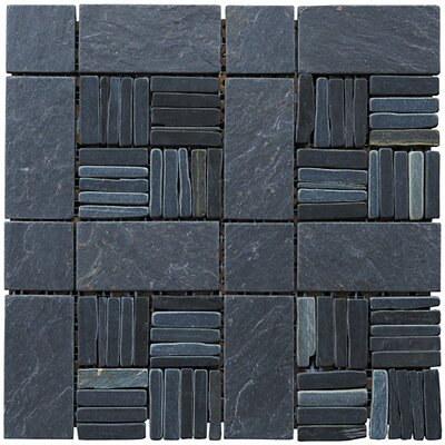 Landscape Wonder 12 x 12 Alternate Natural Stone Blend Mosaic Tile in Black Slate