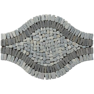 Landscape Wonder 17 x 12  Wavy Stone Blend Mosaic Tile in Two-tone Gray