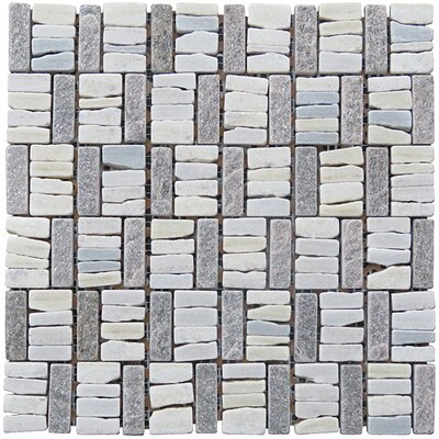 Landscape Wonder 12 x 12 Quartzite Basketweave Natural Stone Blend Mosaic Tile in White and Gray