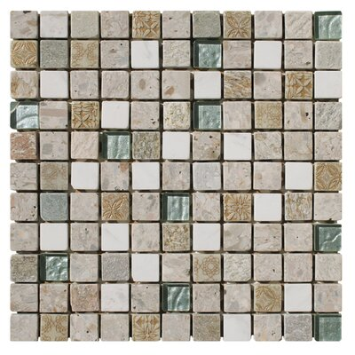 Natural Splendor 1 x 1 Glass and Natural Stone Mosaic Tile in Unpolished Tan, white and gold