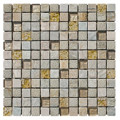 Natural Splendor 1 x 1 Natural Stone/Glass/Seashell Mosaic Tile in 3 Color Blend