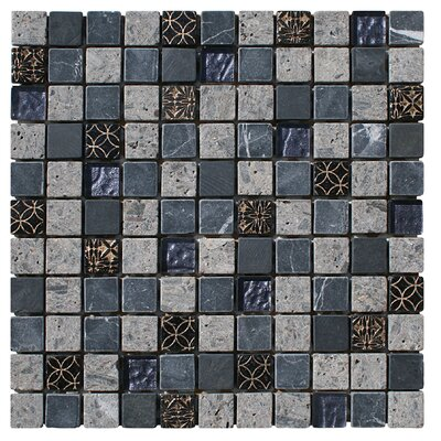 Natural Splendor 1 x 1 Glass and Natural Stone Mosaic Tile in Unpolished Gray, black and gold