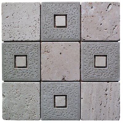 Natural Splendor 4 x 4 Natural Stone and Travertine Mosaic Tile in Gray and Tan