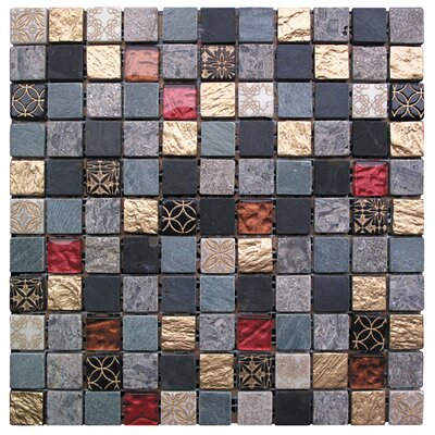 Natural Splendor 1 x 1 Glass and Natural Stone Mosaic Tile in 5 Color Blend