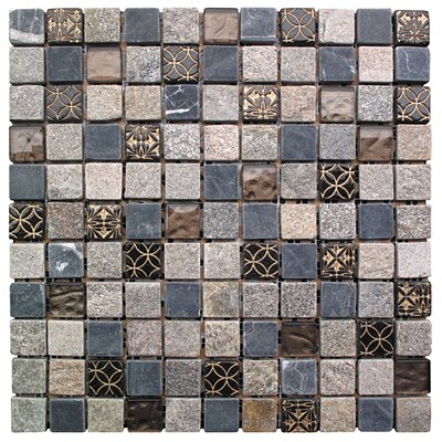 Natural Splendor 1 x 1 Glass and Natural Stone Square Mosaic Tile in 4 Color Blend