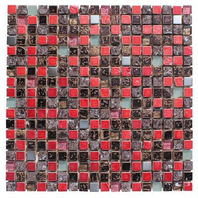 0.63 x 0.63 Glass and Natural Stone Mosaic Tile in Glazed Red, sliver, gray and�black