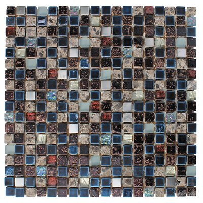 0.63 x 0.63 Glass and Natural Stone Mosaic Tile in Glazed Blue, sliver, gray and black