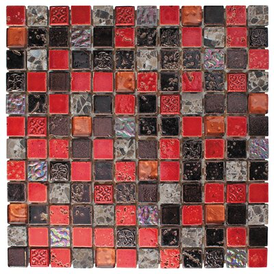 1 x 1 Glass and Natural Stone Mosaic Tile in 3 Color Blend