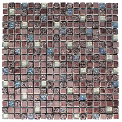 0.63 x 0.63 Glass and Natural Stone Mosaic Tile in 3 Color Blend