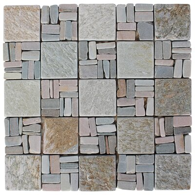 Landscape Wonder 2 x 2 Stone Mosaic Tile in Gray/Tan