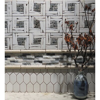Landscape Wonder 12.5 x 12.5 Quartzite Basketweave Natural Stone Blend Mosaic Tile in White and Gray