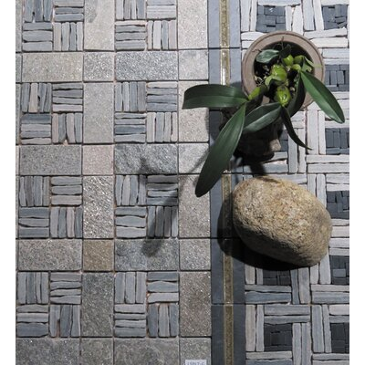 Landscape Wonder 12 x 12 Quartzite Alternate Natural Stone Blend Mosaic Tile in Two-tone Gray