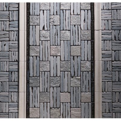 Landscape Wonder 12.5 x 12.5 Quartzite Basketweave Natural Stone Mosaic Tile in Two-tone Gray