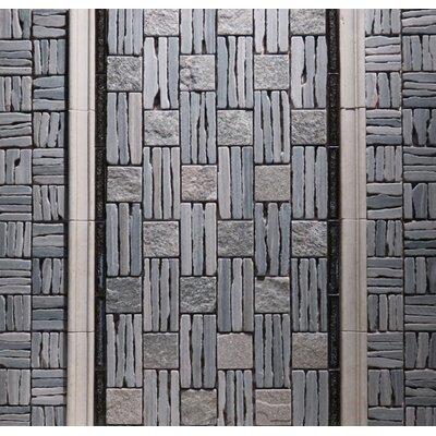 Landscape Wonder 12.5 x 12.5 Quartzite Basketweave Natural Stone Mosaic Tile in Two-tone Gray