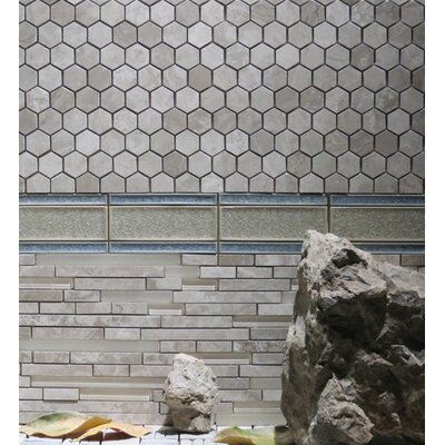 Hexagon 12 x 12.5 Limestone Natural Stone Blend Mosaic Tile in Gray