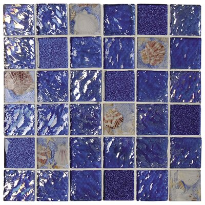 Rhapsody 2 x 2 Glass and Seashell Mosaic Tile in Ocean Blue and Sea Shell