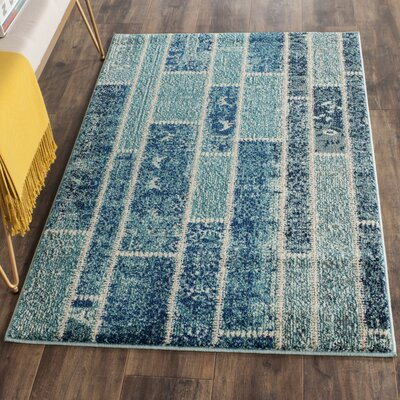 Lobardy Blue Area Rug Rug Size: Rectangle 9 x 12