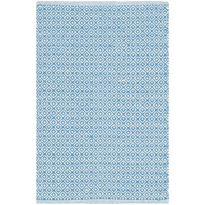 Dormody Hand-Woven Ivory/Blue Area Rug Rug Size: Rectangle 5 x 7