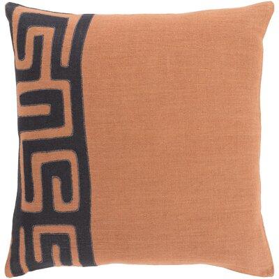 Kreta Linen Throw Pillow Size: 20 H x 20 W x 4 D, Color: Rust/Black