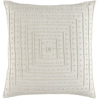Genevieve Cotton Throw Pillow Size: 22 H x 22 W x 4 D, Color: Light Gray