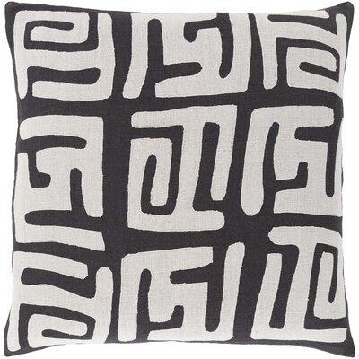 Kreta Linen Throw Pillow Size: 22 H x 22 W x 4 D, Color: Light Gray/Black