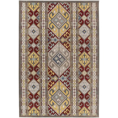 Septfontaines Gold/Burgundy Area Rug Rug Size: Rectangle 68 x 98