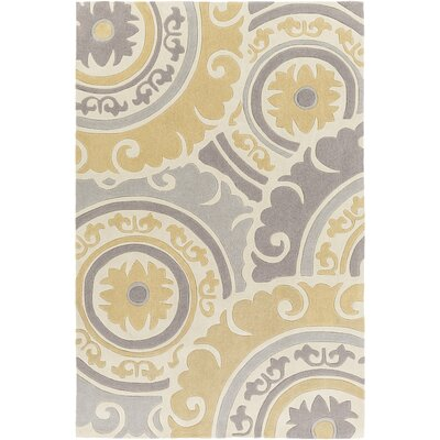 Tripolia Hand-Tufted Gold/Ivory Area Rug Rug Size: Rectangle 3'6