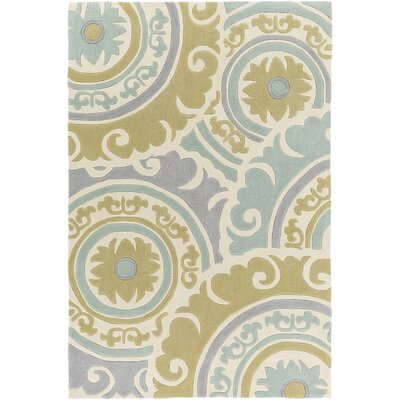 Tripolia Hand-Tufted Moss/Gray Area Rug Rug Size: Rectangle 2' x 3'