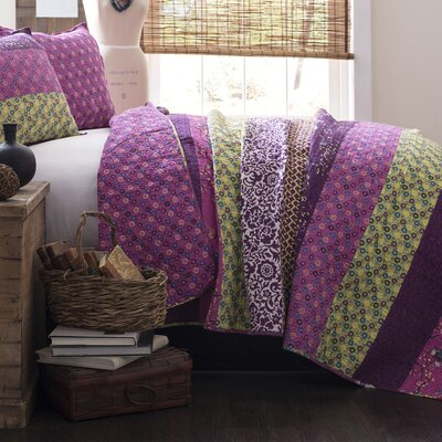 Somerton Cotton 3 Piece Coverlet Set Color: Plum, Size: Full / Queen