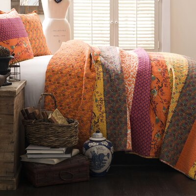 Somerton Cotton 3 Piece Coverlet Set Size: Full / Queen, Color: Tangerine