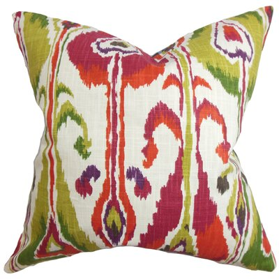 Deeanna Ikat Cotton Throw Pillow Color: Fuchsia, Size: 22 H x 22 W