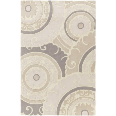 Tripolia Hand-Tufted Ivory/Gray Area Rug Rug Size: Rectangle 36 x 56