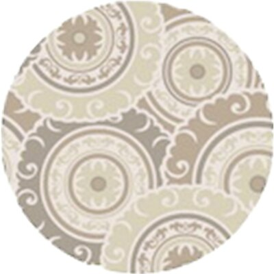 Tripolia Hand-Tufted Ivory/Gray Area Rug Rug Size: Round 8