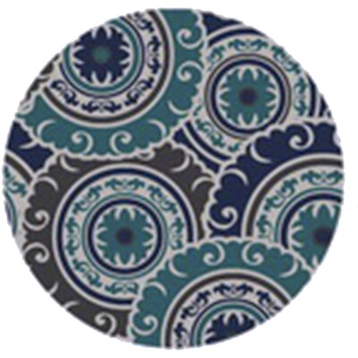 Tripolia Hand-Tufted Blue Area Rug Rug Size: Round 8