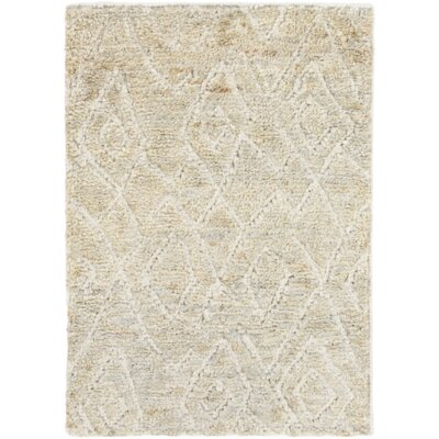 Jordan Hand-Knotted Ivory Area Rug Rug Size: Rectangle 2 x 3