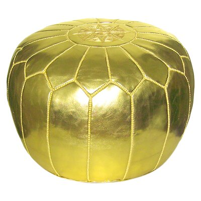 Carolos Metallic Pouf Ottoman Upholstery: Gold