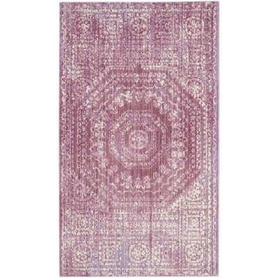 Doline Mauve/Cream Area Rug Rug Size: Rectangle 4 x 6