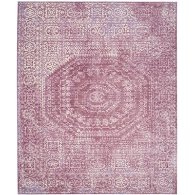 Doline Mauve/Cream Area Rug Rug Size: Rectangle 9 x 12