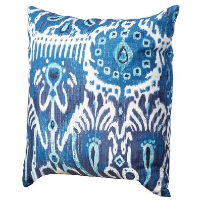 Rayne Ikat Cotton Throw Pillow Color: Navy Blue, Size: 18