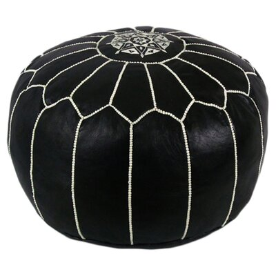 Mouassine Pouf Leather Ottoman Upholstery: Black with White Stitches