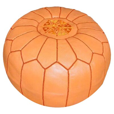 Carolos Pouf Leather Ottoman Upholstery: Orange