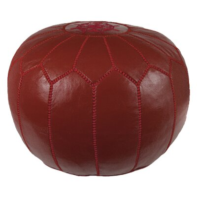 Mouassine Pouf Leather Ottoman Upholstery: Garnet