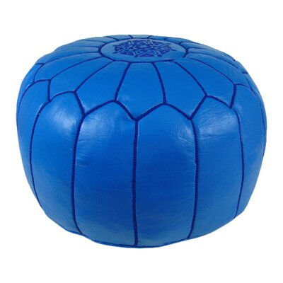 Carolos Pouf Leather Ottoman Upholstery: Light Navy