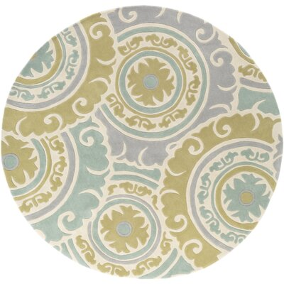 Tripolia Hand-Tufted Moss/Gray Area Rug Rug Size: Round 8'