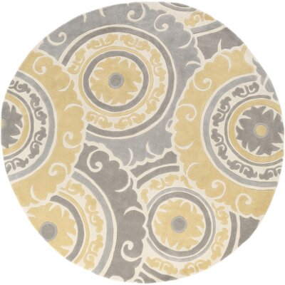 Tripolia Hand-Tufted Gold/Ivory Area Rug Rug Size: Round 8